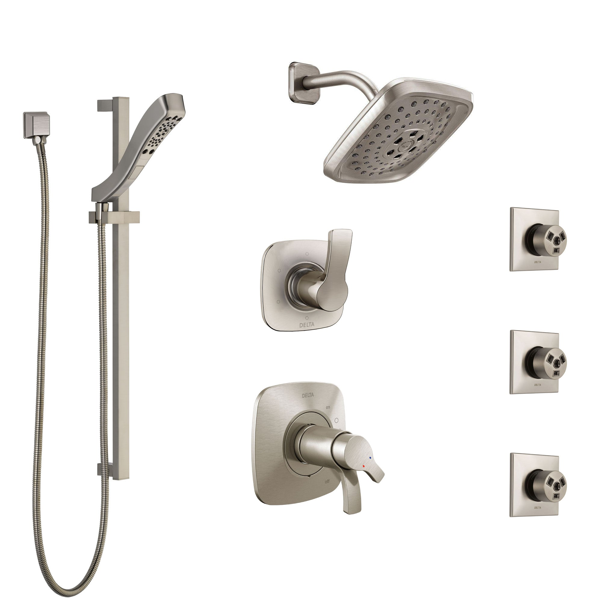 Delta Tesla Dual Thermostatic Control Stainless Steel Finish Shower System, Diverter, Showerhead, 3 Body Sprays, and Hand Shower SS17T2521SS4
