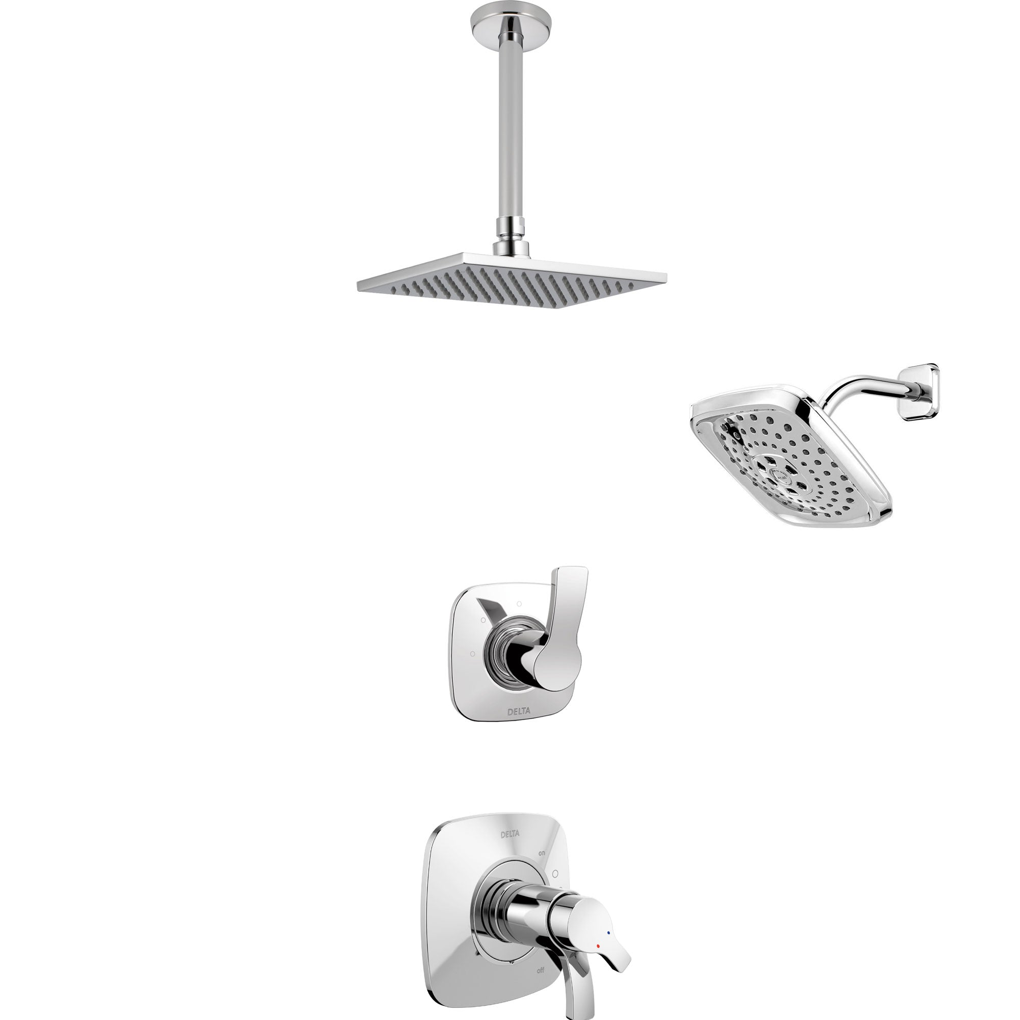 Delta Tesla Chrome Finish Shower System with Dual Thermostatic Control Handle, 3-Setting Diverter, Showerhead, and Ceiling Mount Showerhead SS17T25223