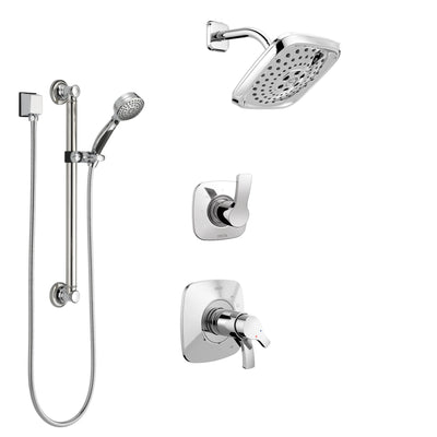 Delta Tesla Chrome Finish Shower System with Dual Thermostatic Control Handle, Diverter, Showerhead, and Hand Shower with Grab Bar SS17T25224