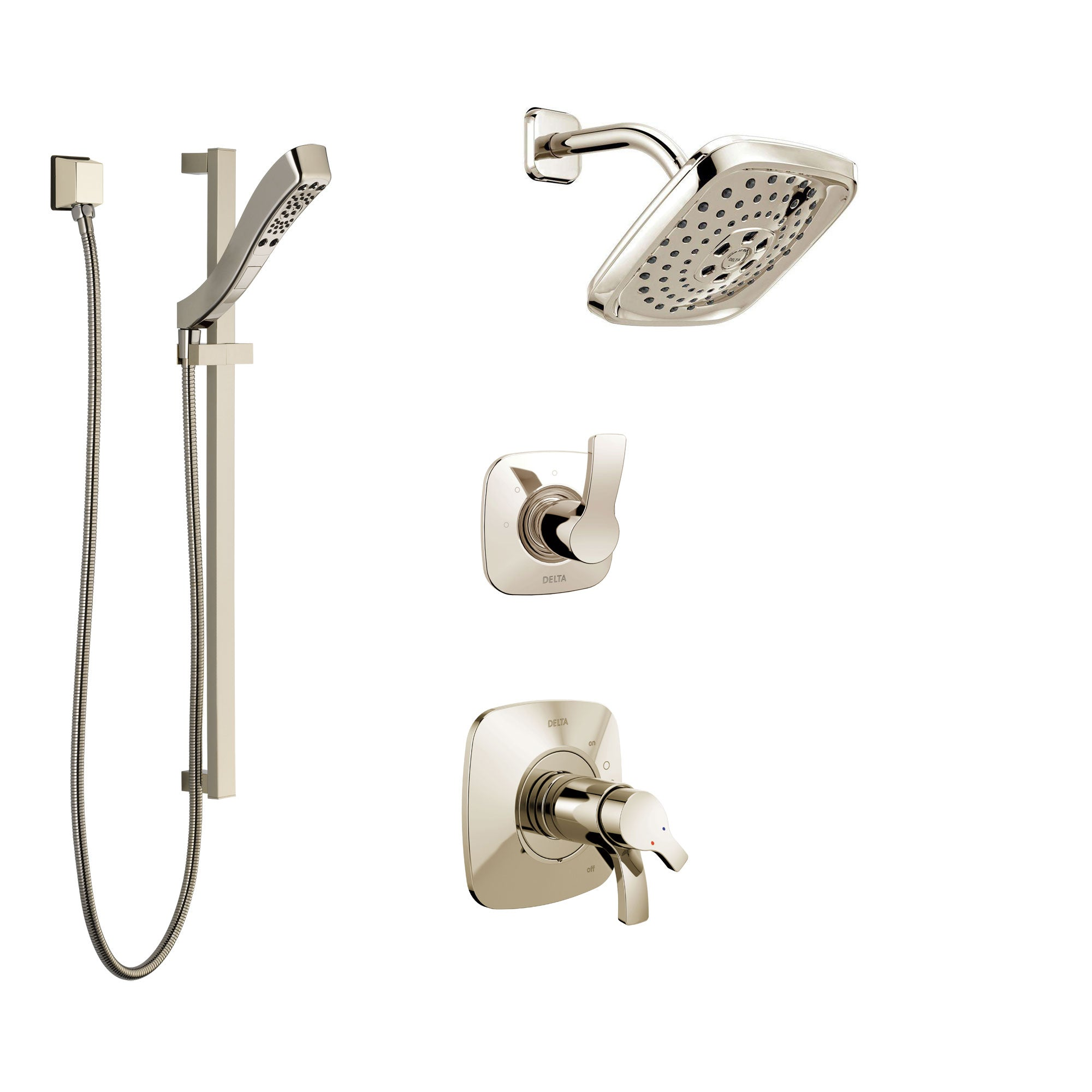 Delta Tesla Polished Nickel Shower System with Dual Thermostatic Control Handle, Diverter, Showerhead, and Hand Shower with Slidebar SS17T2522PN2