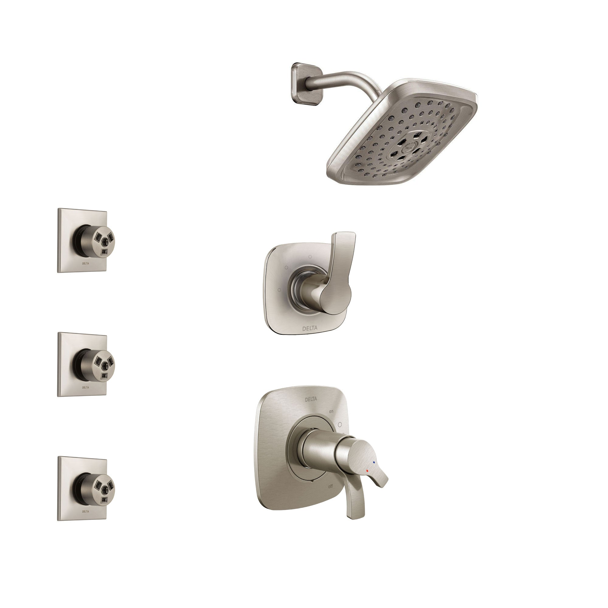 Delta Tesla Stainless Steel Finish Shower System with Dual Thermostatic Control Handle, 3-Setting Diverter, Showerhead, and 3 Body Sprays SS17T2522SS2