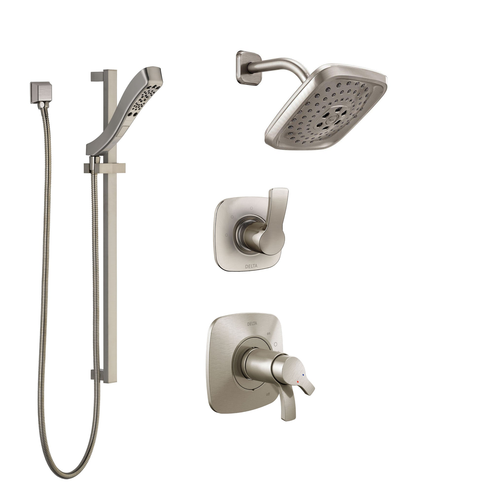 Delta Tesla Dual Thermostatic Control Handle Stainless Steel Finish Shower System, Diverter, Showerhead, and Hand Shower with Slidebar SS17T2522SS4
