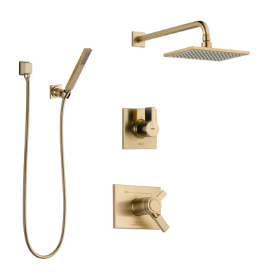 Delta Vero Champagne Bronze Shower System with Dual Thermostatic Control Handle, Diverter, Showerhead, and Hand Shower with Wall Bracket SS17T2531CZ3