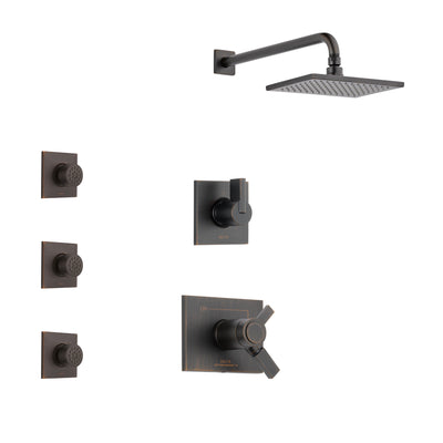 Delta Vero Venetian Bronze Finish Shower System with Dual Thermostatic Control Handle, 3-Setting Diverter, Showerhead, and 3 Body Sprays SS17T2531RB2