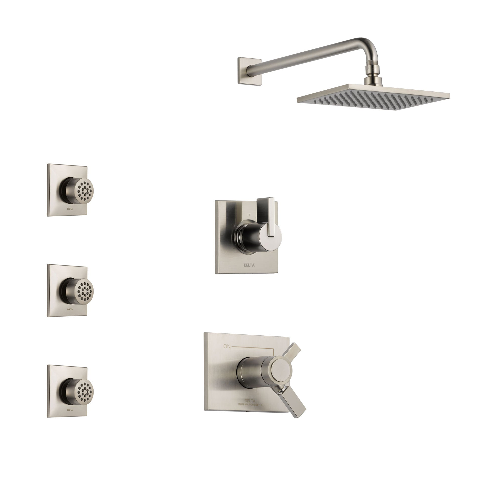 Delta Vero Stainless Steel Finish Shower System with Dual Thermostatic Control Handle, 3-Setting Diverter, Showerhead, and 3 Body Sprays SS17T2531SS1
