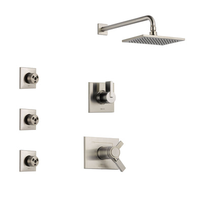 Delta Vero Stainless Steel Finish Shower System with Dual Thermostatic Control Handle, 3-Setting Diverter, Showerhead, and 3 Body Sprays SS17T2531SS2