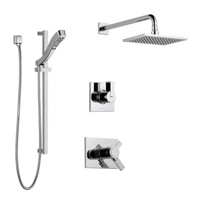 Delta Vero Chrome Finish Shower System with Dual Thermostatic Control Handle, 3-Setting Diverter, Showerhead, and Hand Shower with Slidebar SS17T25324