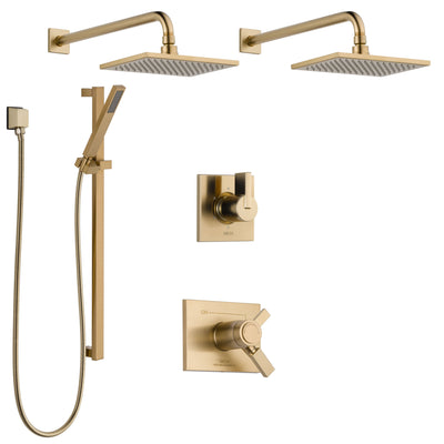Delta Vero Champagne Bronze Shower System with Dual Thermostatic Control Handle, 6-Setting Diverter, 2 Showerheads, Hand Shower SS17T2532CZ3