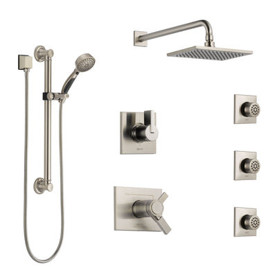 Delta Vero Dual Thermostatic Control Stainless Steel Finish Shower System, Diverter, Showerhead, 3 Body Sprays, and Grab Bar Hand Shower SS17T2532SS2