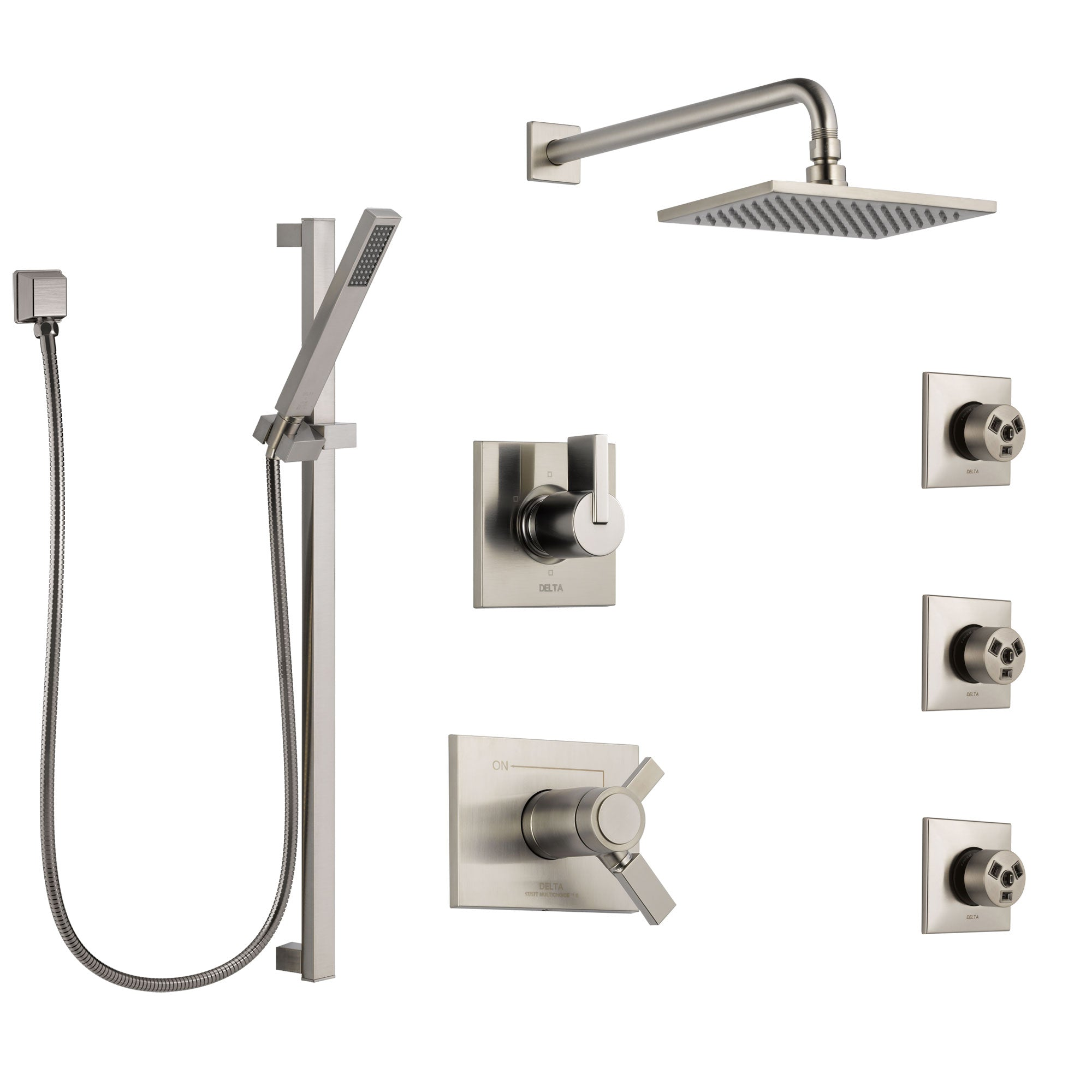 Delta Vero Dual Thermostatic Control Stainless Steel Finish Shower System, 6-Setting Diverter, Showerhead, 3 Body Sprays, and Hand Shower SS17T2532SS4