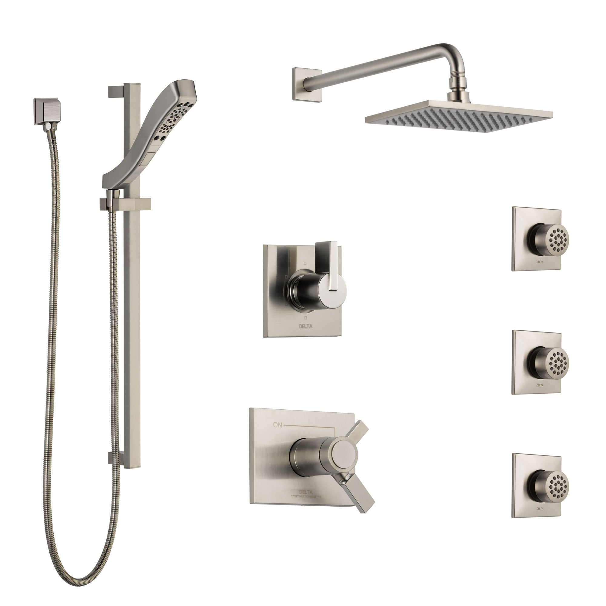 Delta Vero Dual Thermostatic Control Stainless Steel Finish Shower System, 6-Setting Diverter, Showerhead, 3 Body Sprays, and Hand Shower SS17T2532SS6