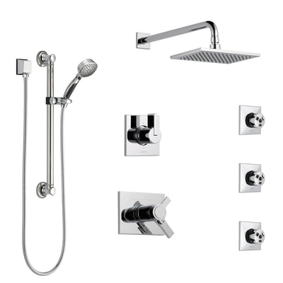 Delta Vero Chrome Shower System with Dual Thermostatic Control, Diverter, Showerhead, 3 Body Sprays, and Hand Shower with Grab Bar SS17T25332