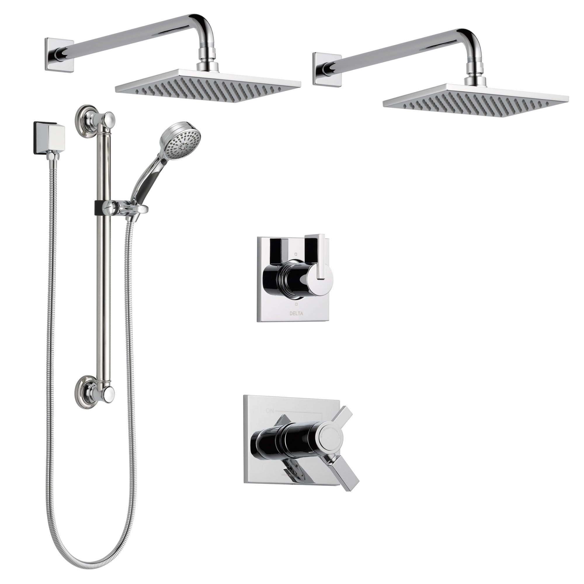 Delta Vero Chrome Shower System with Dual Thermostatic Control Handle, 6-Setting Diverter, 2 Showerheads, and Hand Shower with Grab Bar SS17T25333