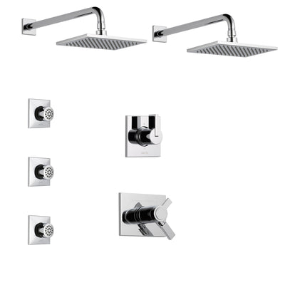 Delta Vero Chrome Finish Shower System with Dual Thermostatic Control Handle, 6-Setting Diverter, 2 Showerheads, 3 Body Sprays SS17T25334