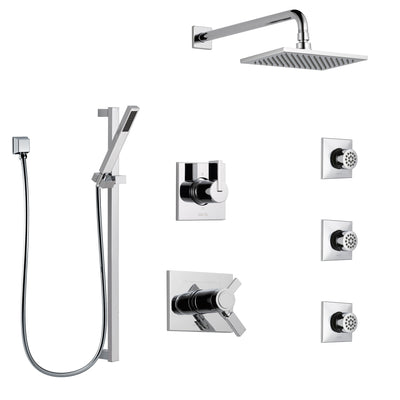 Delta Vero Chrome Shower System with Dual Thermostatic Control Handle, 6-Setting Diverter, Showerhead, 3 Body Sprays, and Hand Shower SS17T25336