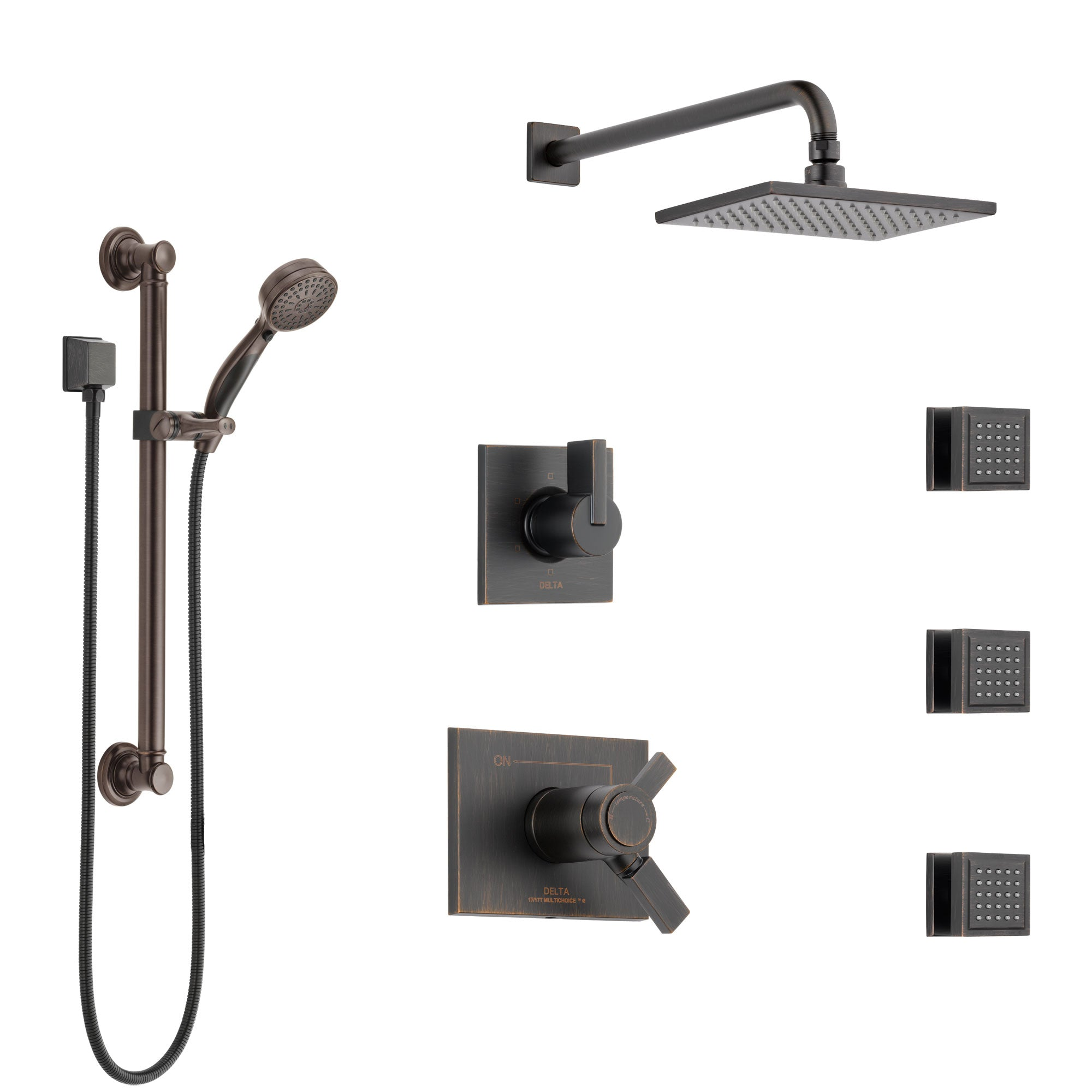 Delta Vero Venetian Bronze Shower System with Dual Thermostatic Control, Diverter, Showerhead, 3 Body Sprays, and Grab Bar Hand Shower SS17T2533RB1