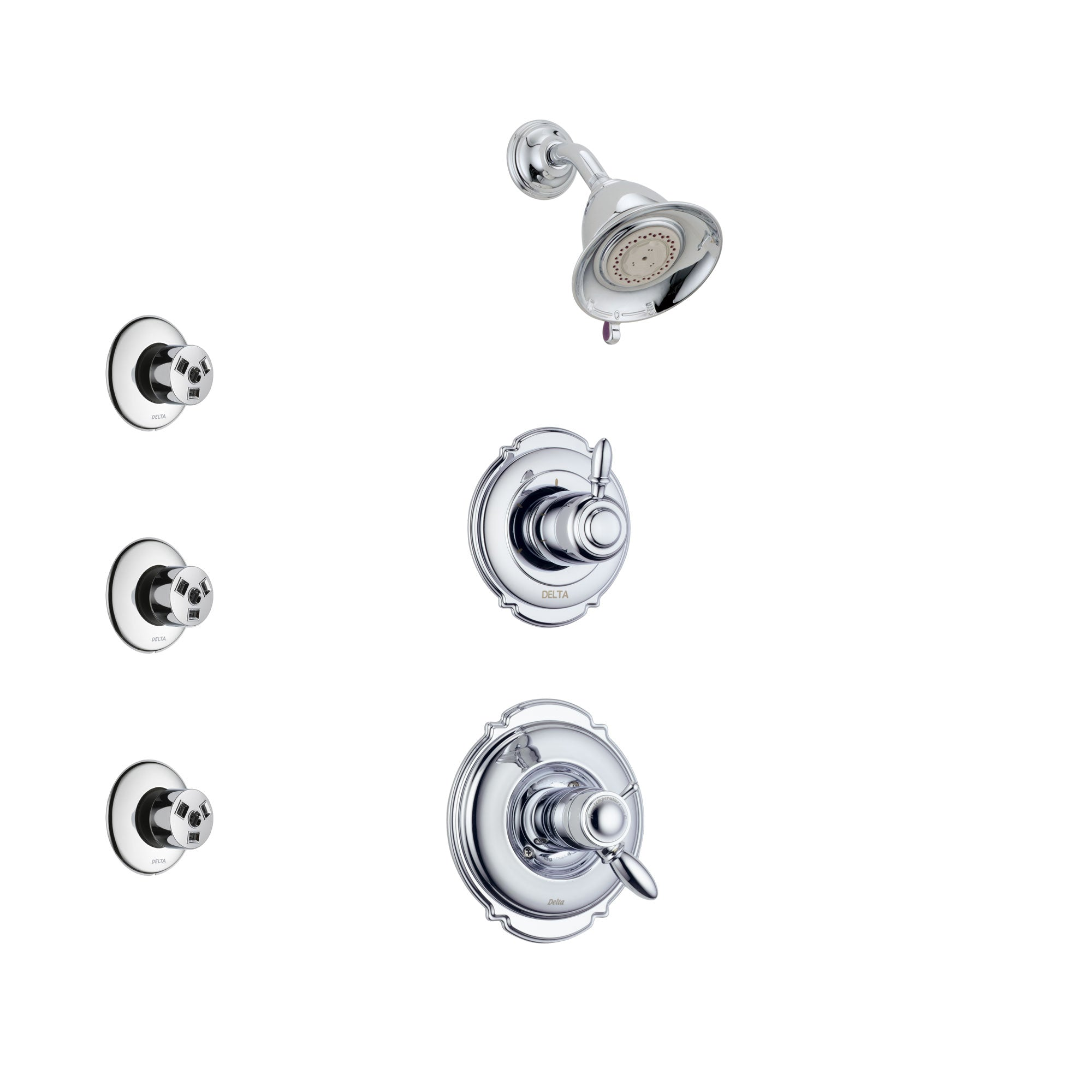 Delta Victorian Chrome Finish Shower System with Dual Thermostatic Control Handle, 3-Setting Diverter, Showerhead, and 3 Body Sprays SS17T25512