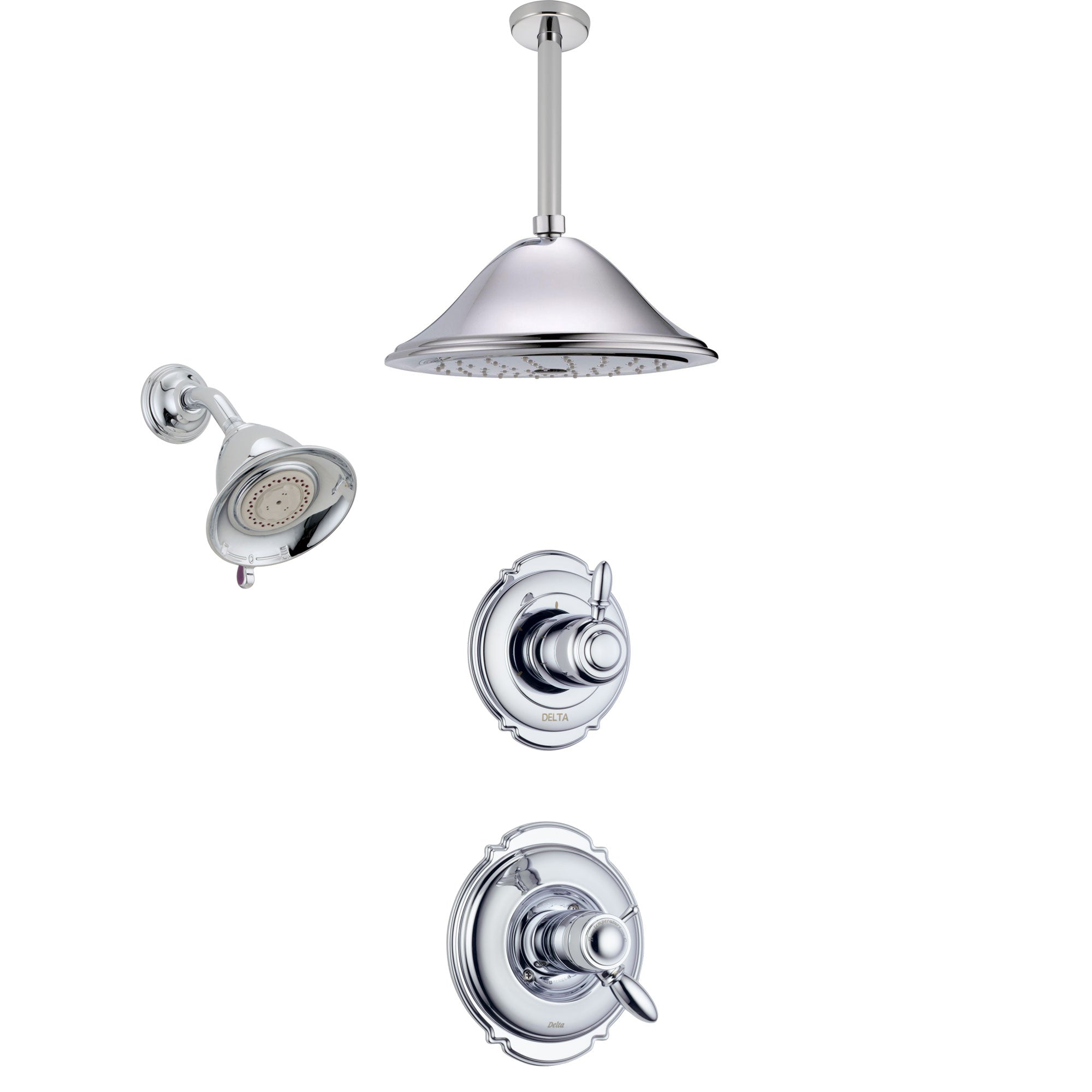 Delta Victorian Chrome Finish Shower System with Dual Thermostatic Control Handle, Diverter, Showerhead, and Ceiling Mount Showerhead SS17T25515