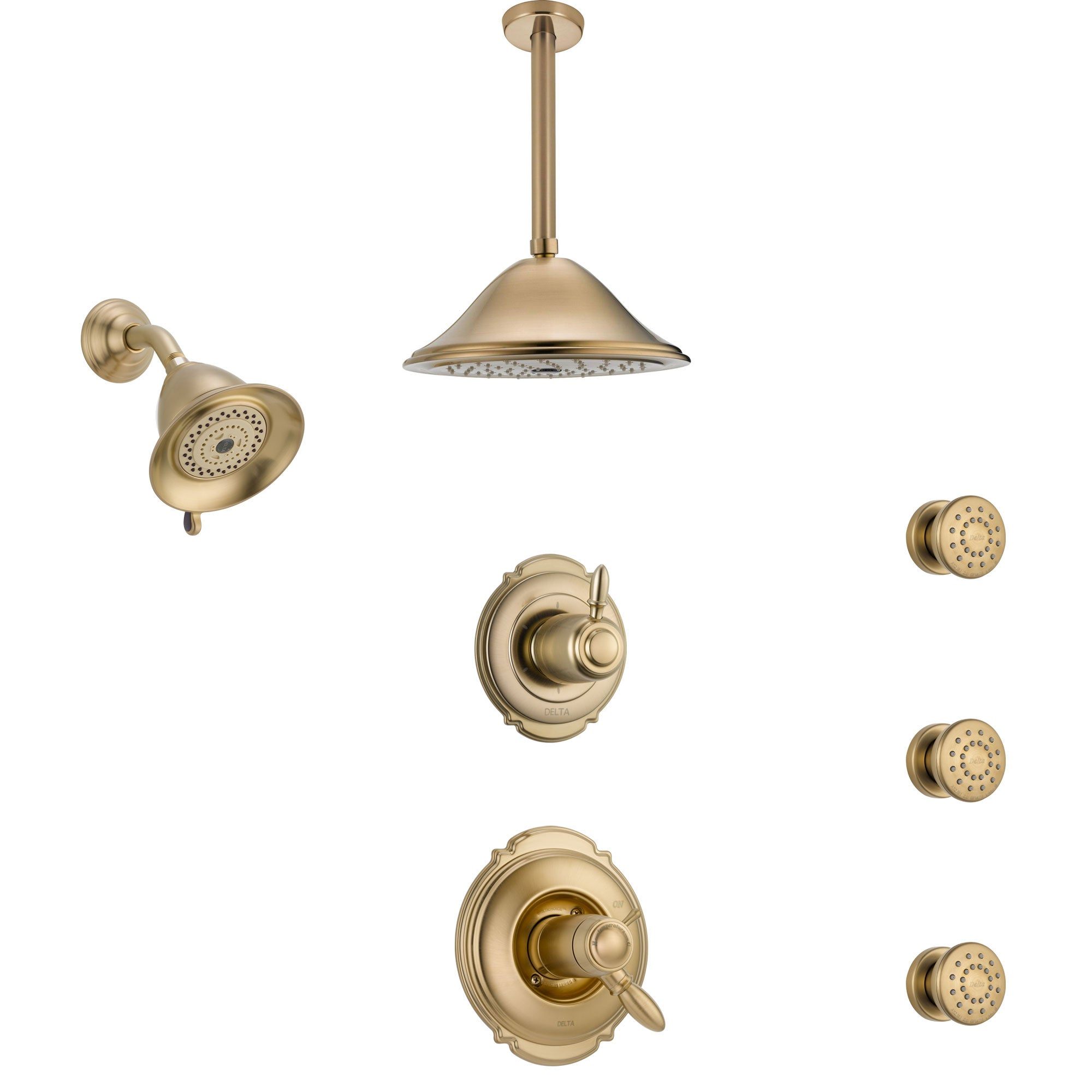 Delta Victorian Dual Thermostatic Control Champagne Bronze Shower System, Diverter, Showerhead, Ceiling Showerhead, and 3 Body Sprays SS17T2551CZ3