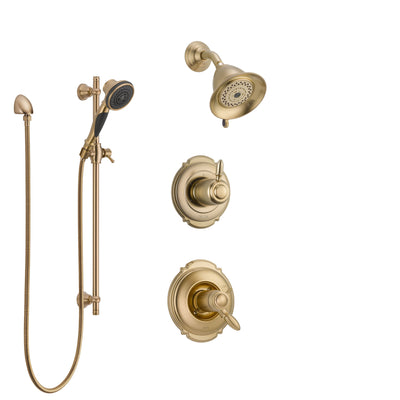 Delta Victorian Champagne Bronze Shower System with Dual Thermostatic Control Handle, Diverter, Showerhead, and Hand Shower with Slidebar SS17T2552CZ3