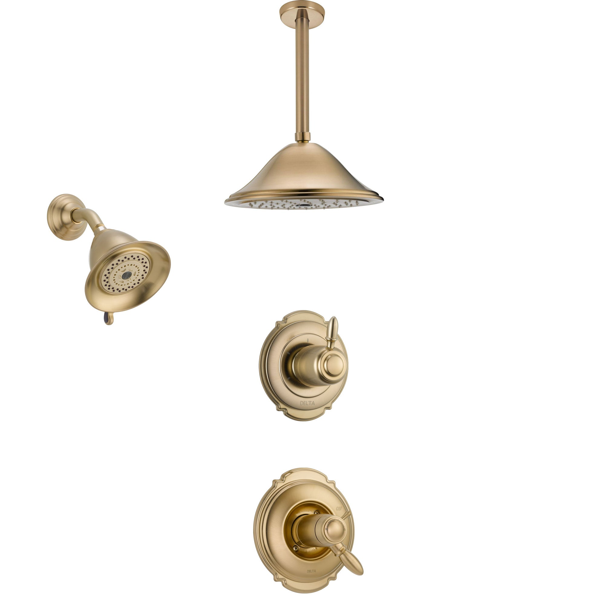 Delta Victorian Champagne Bronze Shower System with Dual Thermostatic Control Handle, Diverter, Showerhead, and Ceiling Mount Showerhead SS17T2552CZ5