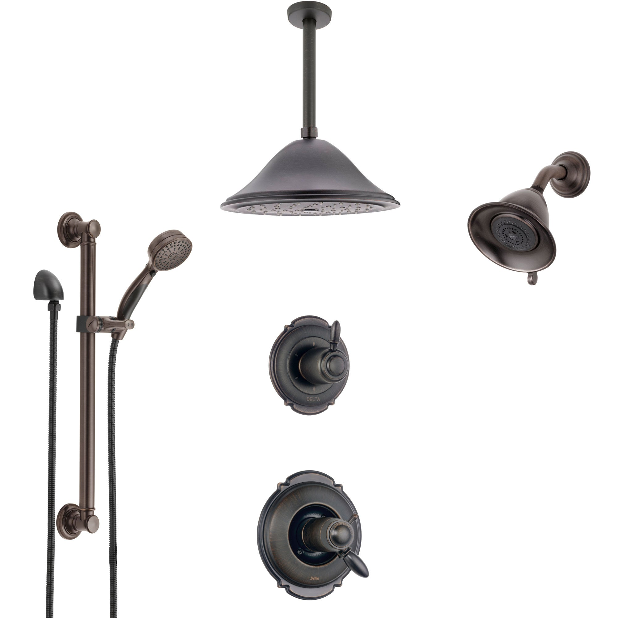 Delta Victorian Venetian Bronze Dual Thermostatic Control Shower System, Diverter, Showerhead, Ceiling Showerhead, Grab Bar Hand Spray SS17T2552RB5