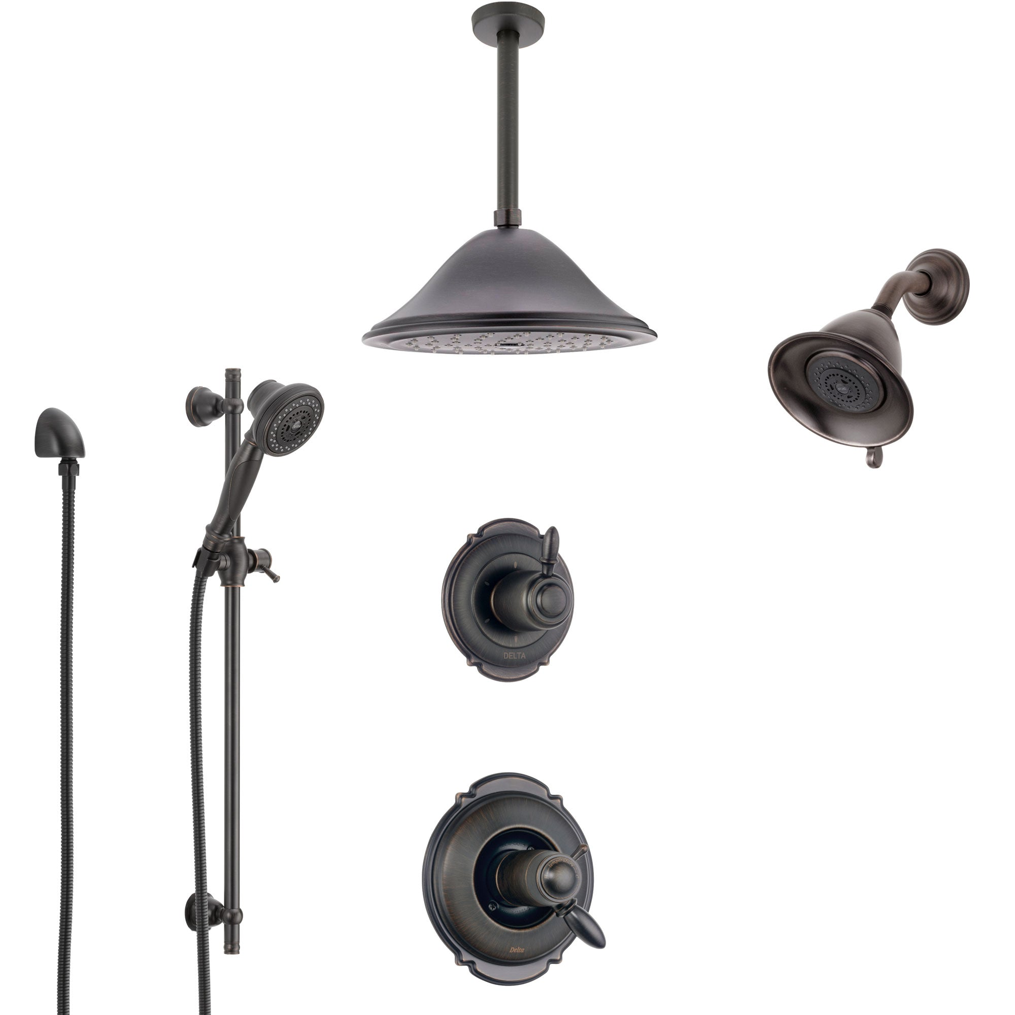 Delta Victorian Venetian Bronze Shower System with Dual Thermostatic Control, Diverter, Showerhead, Ceiling Showerhead, and Hand Shower SS17T2552RB6