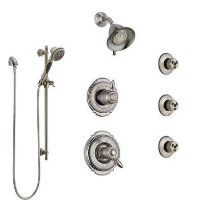 Delta Victorian Dual Thermostatic Control Stainless Steel Finish Shower System, Diverter, Showerhead, 3 Body Sprays, and Hand Shower SS17T2552SS4