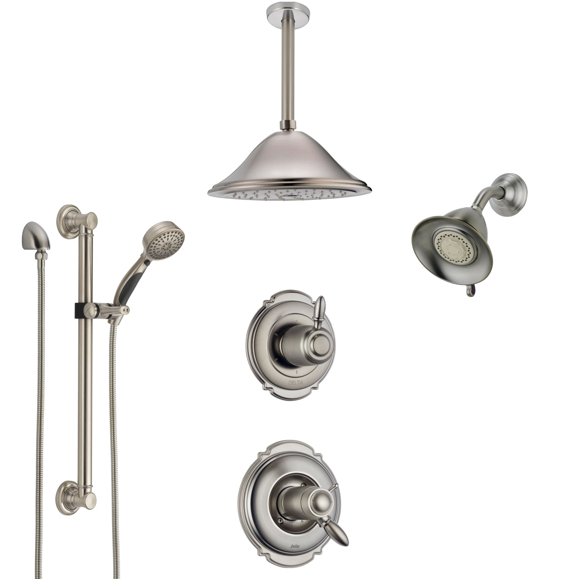 Delta Victorian Dual Thermostatic Control Stainless Steel Finish Shower System with Showerhead, Ceiling Showerhead, Grab Bar Hand Spray SS17T2552SS6