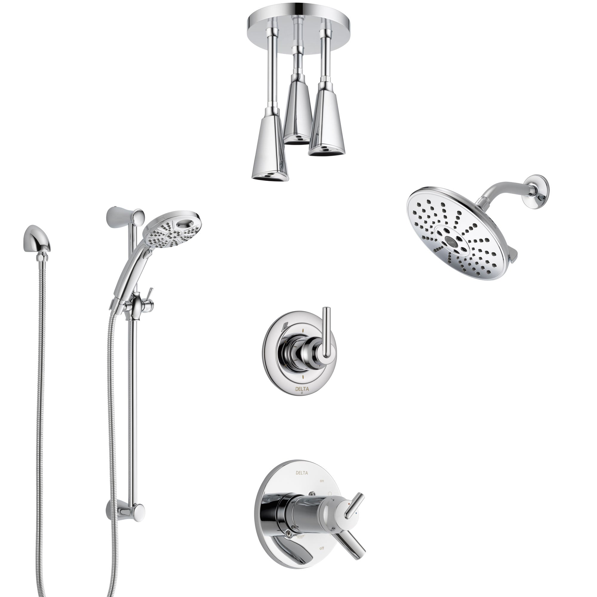 Delta Trinsic Chrome Shower System with Dual Thermostatic Control, Diverter, Showerhead, Ceiling Mount Showerhead, and Temp2O Hand Shower SS17T25915
