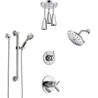 Delta Trinsic Chrome Shower System with Dual Thermostatic Control, Diverter, Showerhead, Ceiling Mount Showerhead, and Grab Bar Hand Shower SS17T25916