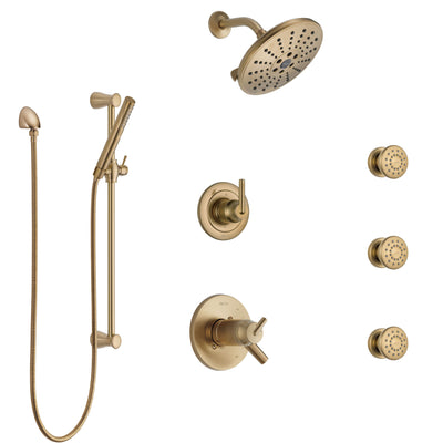 Delta Trinsic Champagne Bronze Shower System with Dual Thermostatic Control, Diverter, Showerhead, 3 Body Sprays, and Hand Shower SS17T2591CZ1