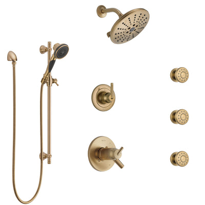 Delta Trinsic Champagne Bronze Shower System with Dual Thermostatic Control, Diverter, Showerhead, 3 Body Sprays, and Hand Shower SS17T2591CZ2