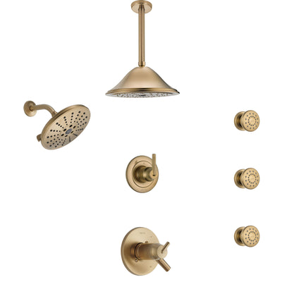 Delta Trinsic Champagne Bronze Shower System with Dual Thermostatic Control, Diverter, Showerhead, Ceiling Showerhead, and 3 Body Sprays SS17T2591CZ3