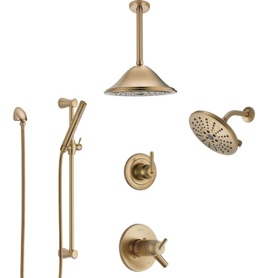 Delta Trinsic Champagne Bronze Shower System with Dual Thermostatic Control, Diverter, Showerhead, Ceiling Showerhead, and Hand Shower SS17T2591CZ4