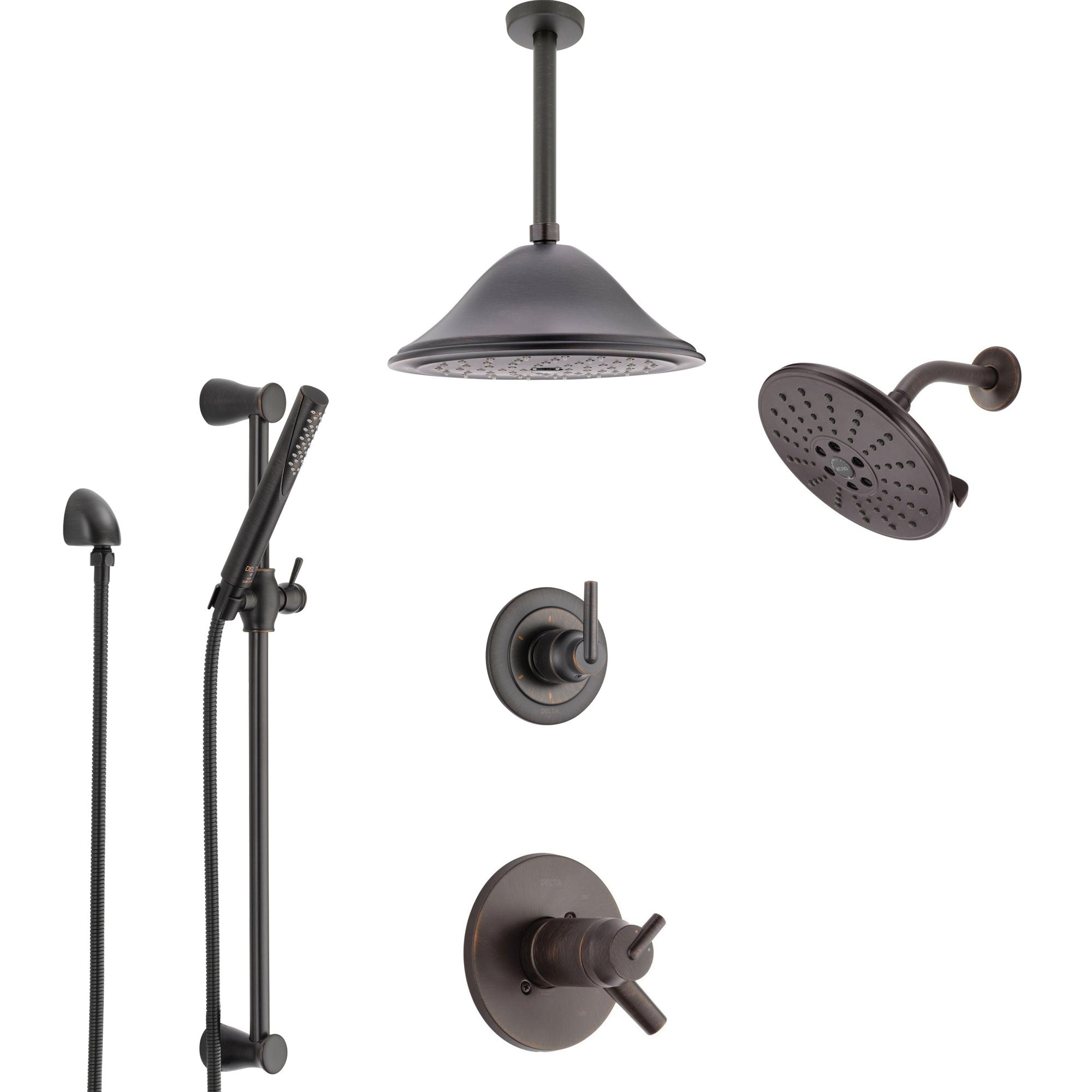 Delta Trinsic Venetian Bronze Shower System with Dual Thermostatic Control, Diverter, Showerhead, Ceiling Showerhead, and Hand Shower SS17T2591RB5