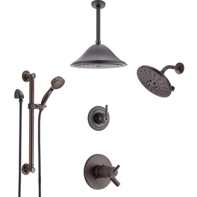 Shower Systems with Showerhead, Ceiling Mount Rain Showerhead, and Hand Shower