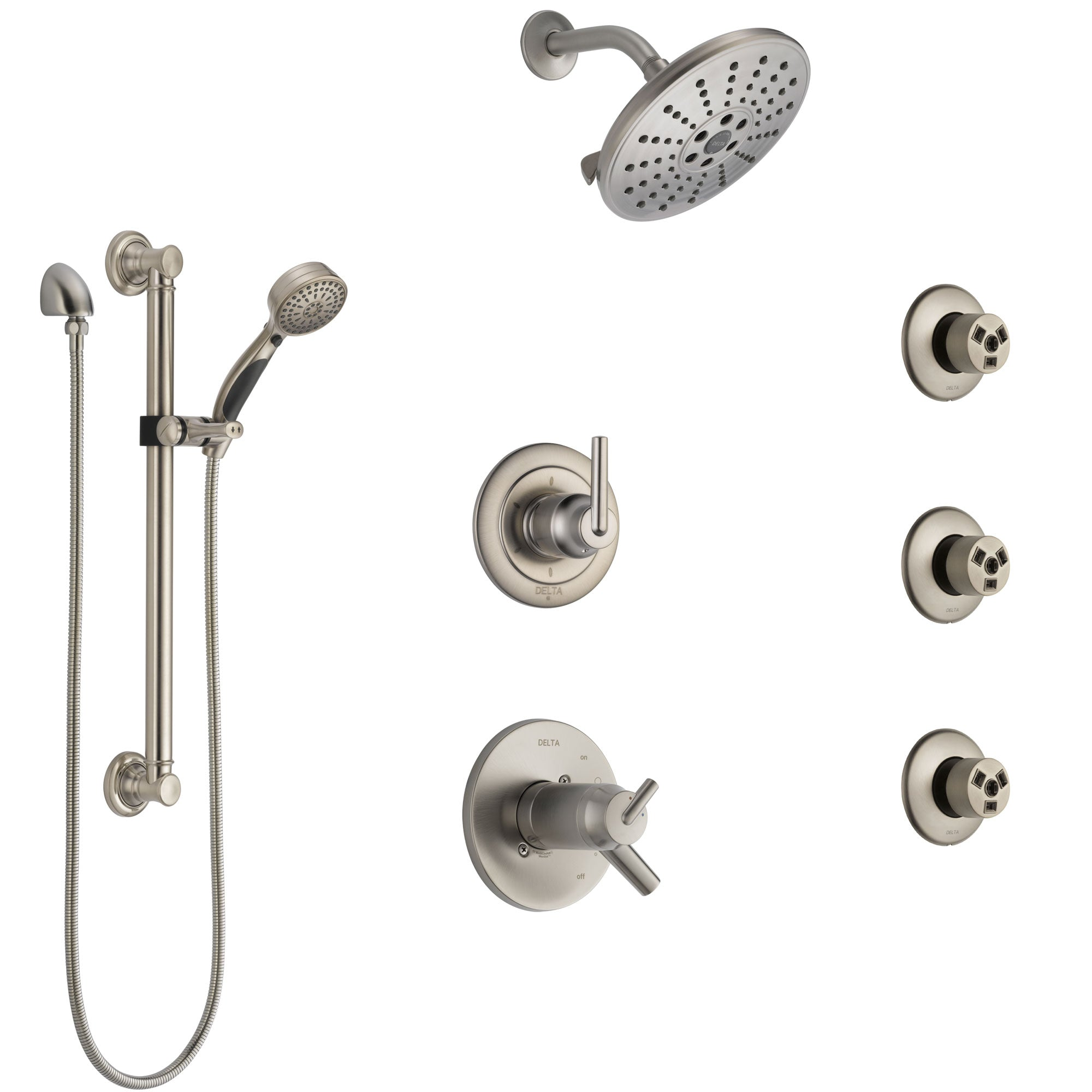 Delta Trinsic Dual Thermostatic Control Stainless Steel Finish Shower System, Diverter, Showerhead, 3 Body Sprays, Grab Bar Hand Spray SS17T2591SS1