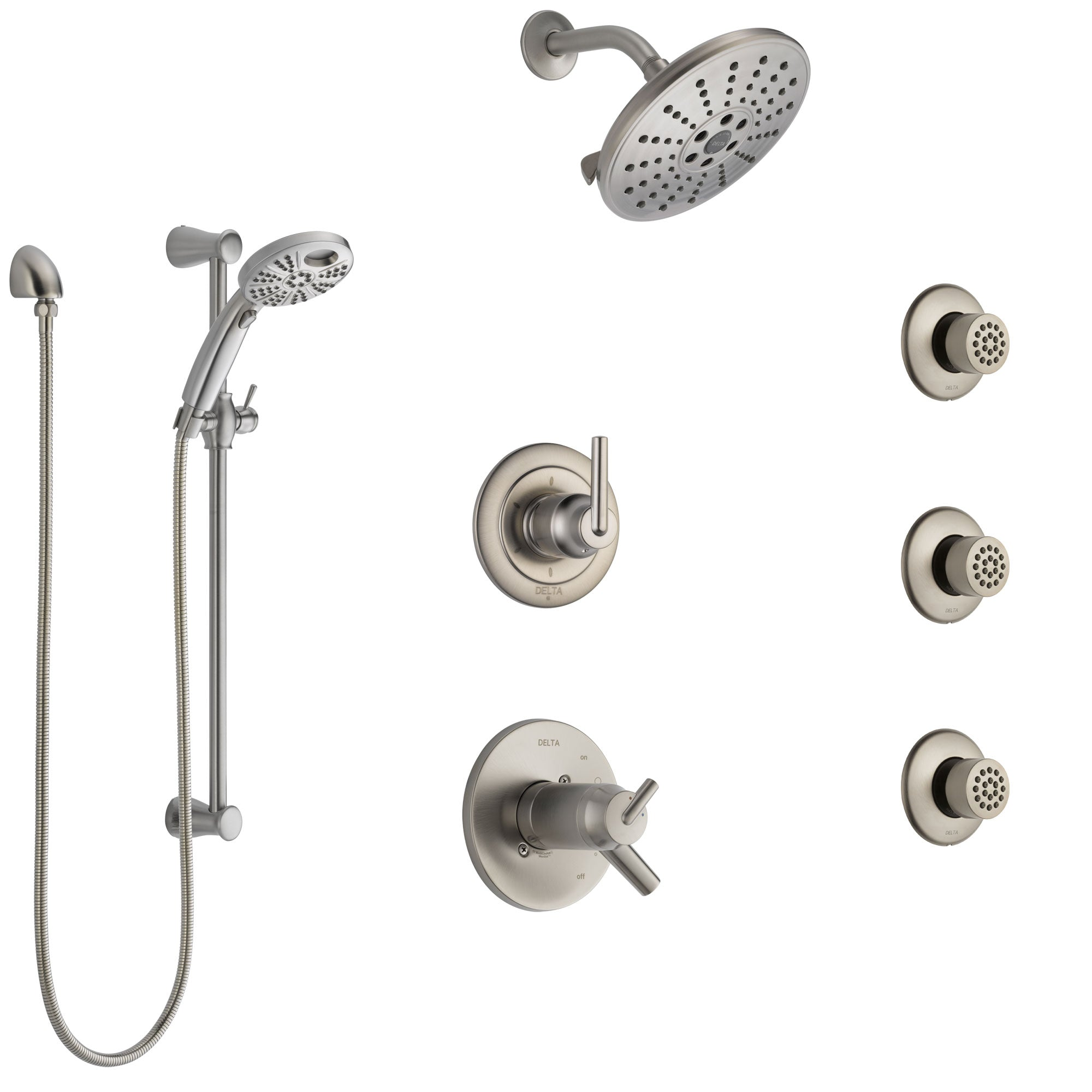 Delta Trinsic Dual Thermostatic Control Stainless Steel Finish Shower System, Diverter, Showerhead, 3 Body Sprays, and Temp2O Hand Shower SS17T2591SS3