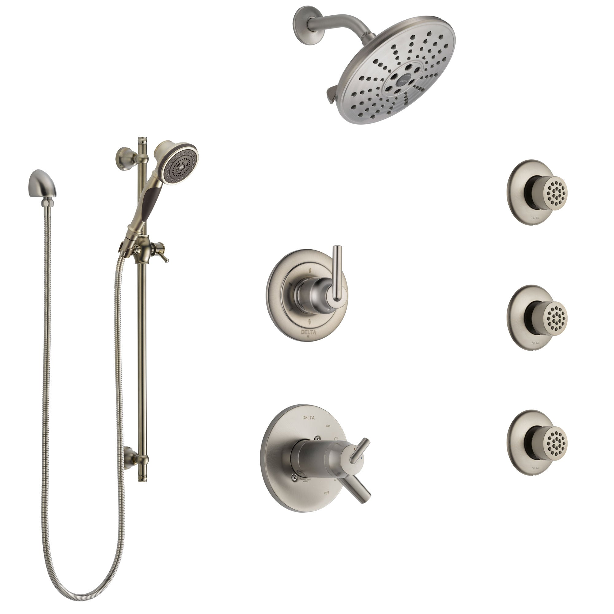 Delta Trinsic Dual Thermostatic Control Stainless Steel Finish Shower System, Diverter, Showerhead, 3 Body Sprays, and Hand Shower SS17T2591SS4