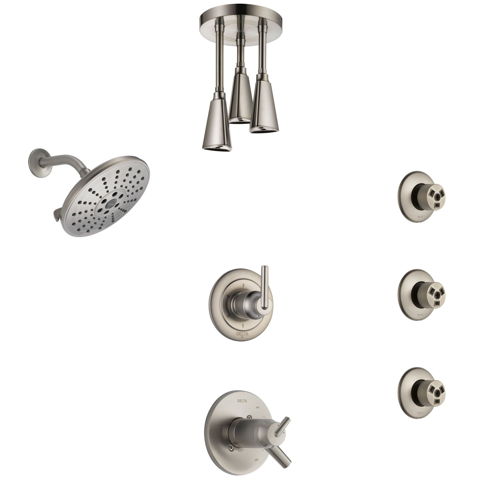 Delta Trinsic Dual Thermostatic Control Stainless Steel Finish Shower System, Diverter, Showerhead, Ceiling Showerhead, and 3 Body Sprays SS17T2591SS6