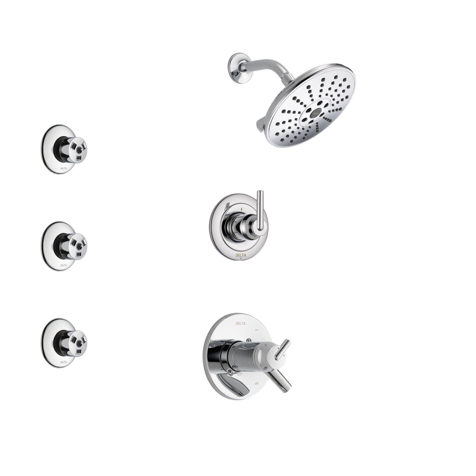 Delta Trinsic Chrome Finish Shower System with Dual Thermostatic Control Handle, 3-Setting Diverter, Showerhead, and 3 Body Sprays SS17T25922