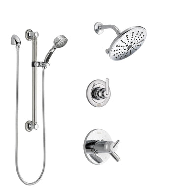 Delta Trinsic Chrome Finish Shower System with Dual Thermostatic Control Handle, Diverter, Showerhead, and Hand Shower with Grab Bar SS17T25923