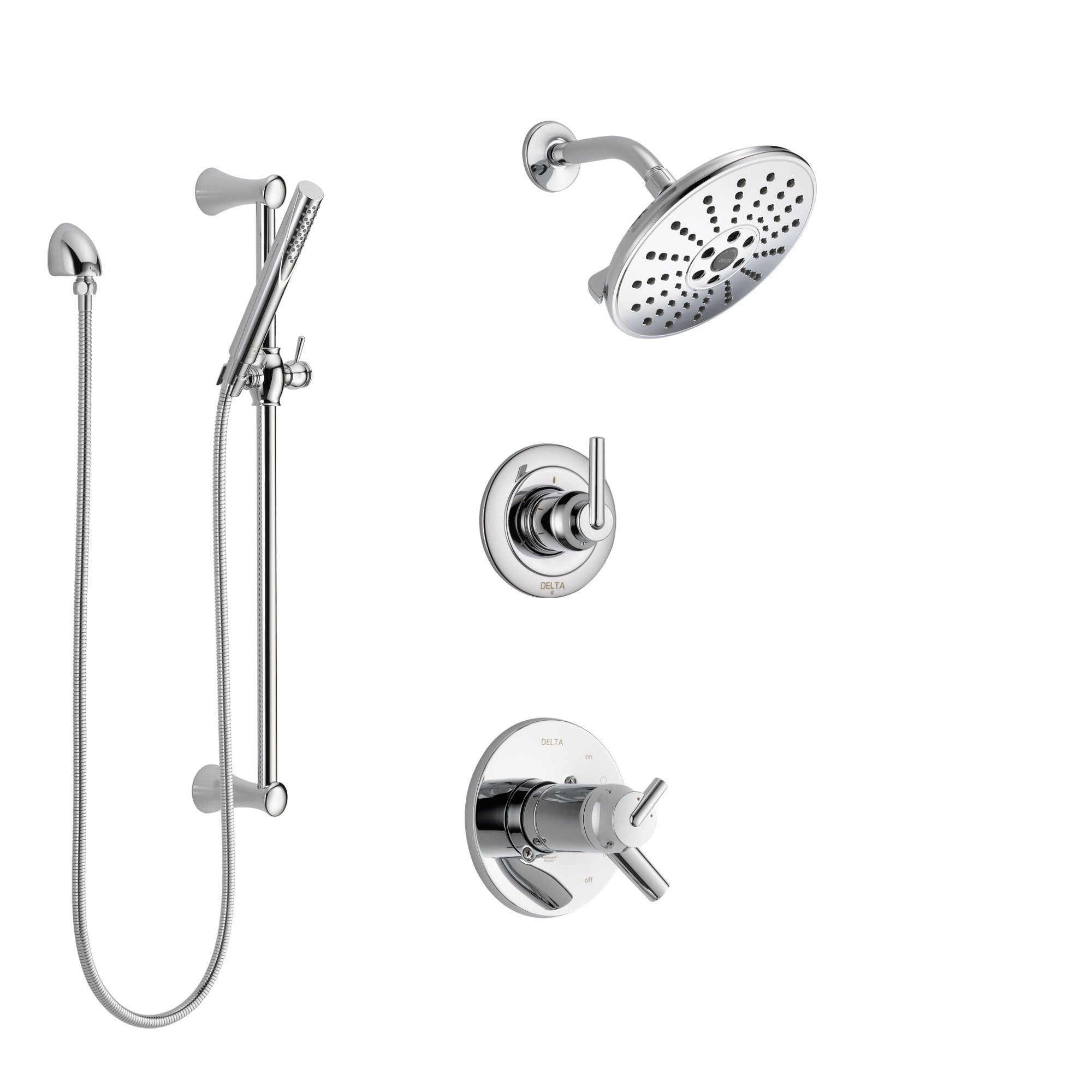 Delta Trinsic Chrome Finish Shower System with Dual Thermostatic Control Handle, Diverter, Showerhead, and Hand Shower with Slidebar SS17T25925