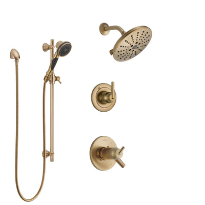 Delta Trinsic Champagne Bronze Shower System with Dual Thermostatic Control Handle, Diverter, Showerhead, and Hand Shower with Slidebar SS17T2592CZ4