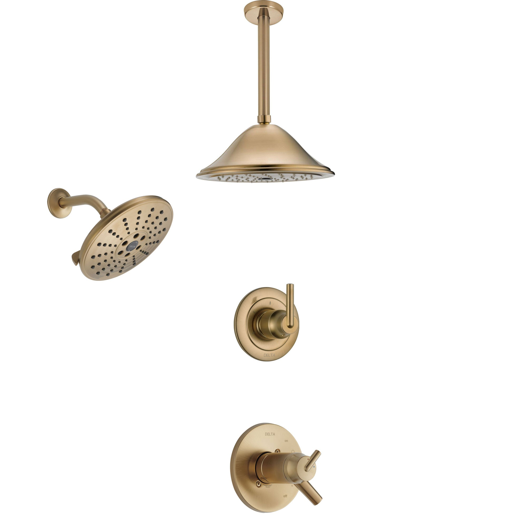 Delta Trinsic Champagne Bronze Shower System with Dual Thermostatic Control Handle, Diverter, Showerhead, and Ceiling Mount Showerhead SS17T2592CZ5