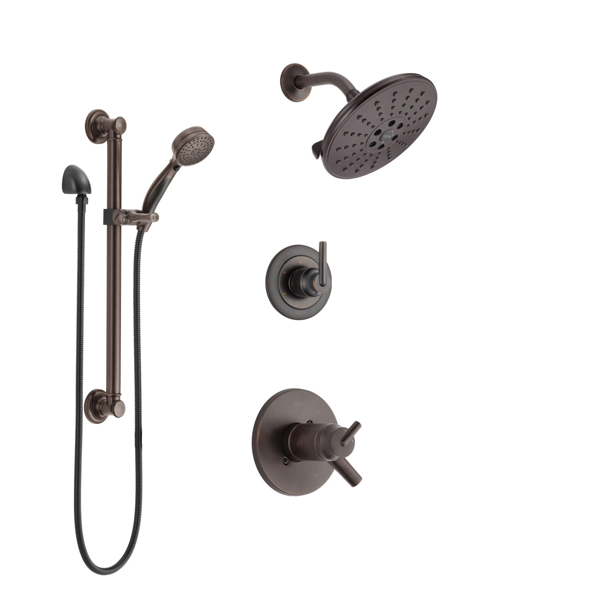 Delta Trinsic Venetian Bronze Shower System with Dual Thermostatic Control Handle, Diverter, Showerhead, and Hand Shower with Grab Bar SS17T2592RB3