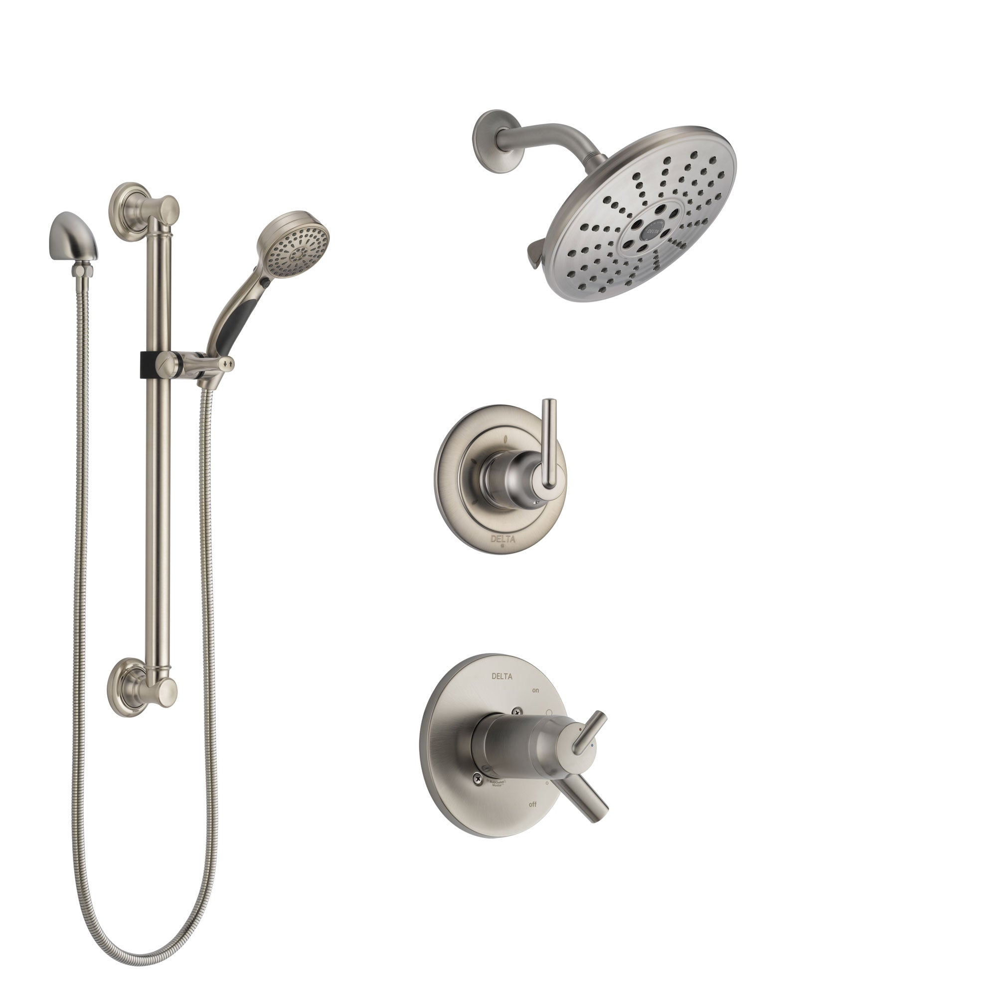 Delta Trinsic Dual Thermostatic Control Handle Stainless Steel Finish Shower System Diverter Showerhead And Hand Shower With Grab Bar Ss17t2592ss3