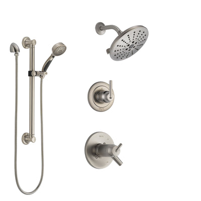 Delta Trinsic Dual Thermostatic Control Handle Stainless Steel Finish Shower System, Diverter, Showerhead, and Hand Shower with Grab Bar SS17T2592SS3