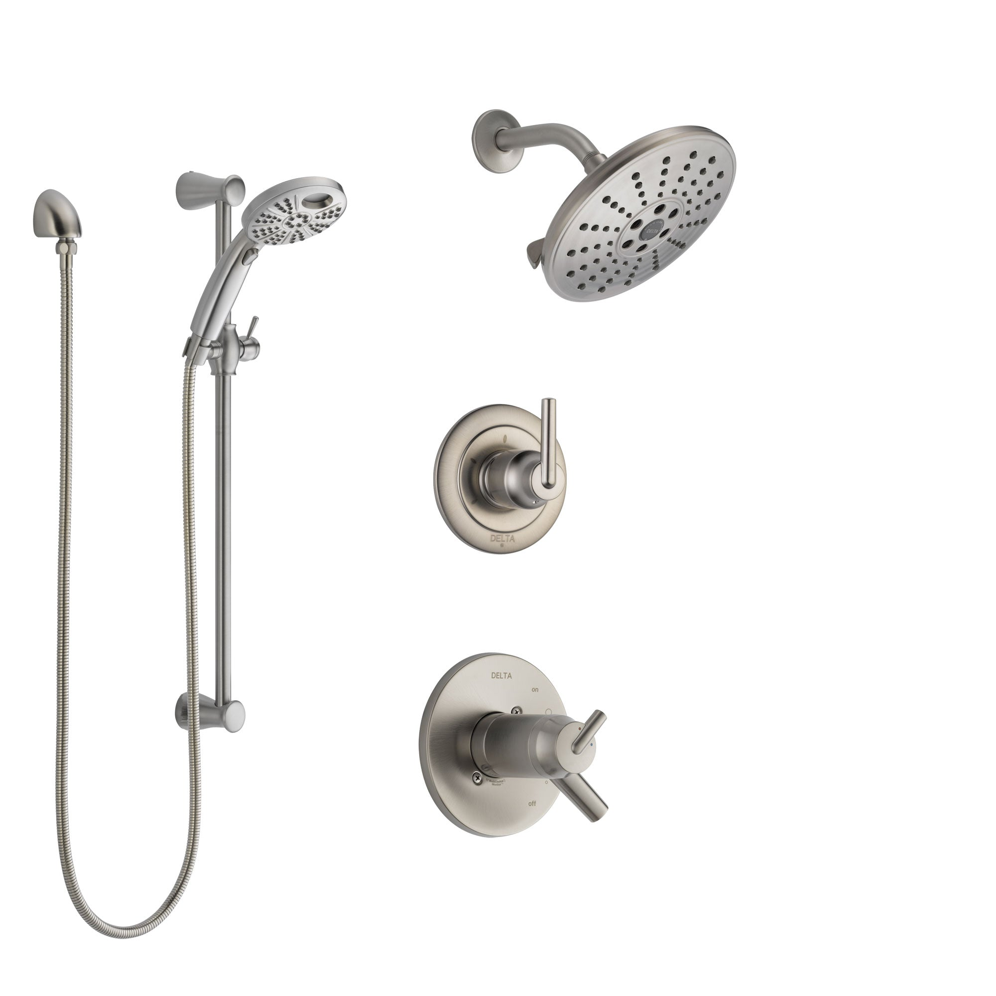 Delta Trinsic Dual Thermostatic Control Stainless Steel Finish Shower System, Diverter, Showerhead, and Temp2O Hand Shower with Slidebar SS17T2592SS4